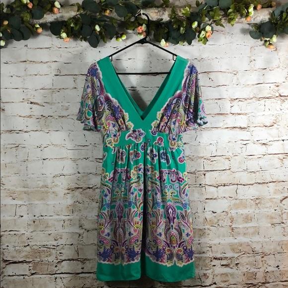 Tibi Dresses & Skirts - Tibi Silk Paisley Dress Double V Neck
